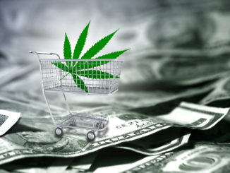 Marijuana leaf in a cart. US dollars.